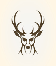 Deer Head Outline Silhouette. ...