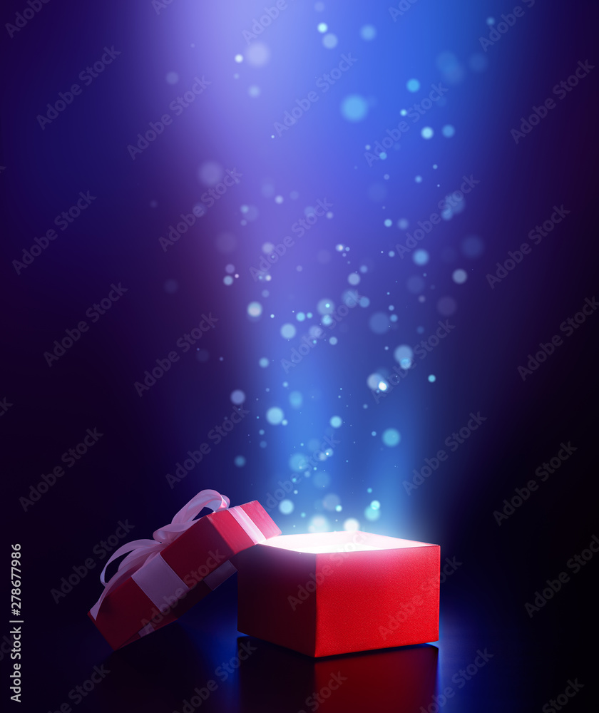 Fototapety, obrazy: Red open gift box with magical light