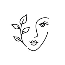 Beauty Woman Abstract Face Icon. Female Minimal Portrait Line Drawing Logo.