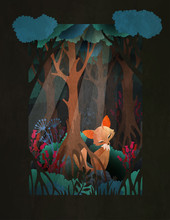 Cute Red Fox Sitting In The Forest Fairytale Illustration, Greeting Card Or Poster Design