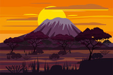 African Sunset Landscape Savannah Wild Nature. Grass, Bushes, Acacia Trees And Mountane