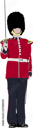 Photo Vector image of beefeater isolated on white