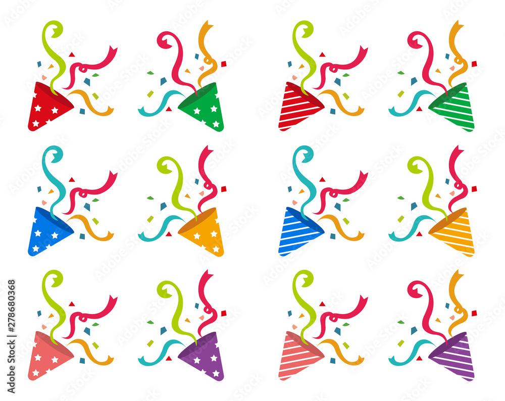 Fototapeta Cracker (party popper) vector flat illustration set