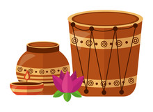 Indian Ceramic Pot Folk With D...