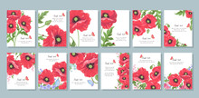 Set Of Christmas Cards With Hearts And Flowers