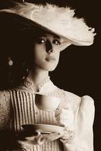Woman In White Victorian Era C...