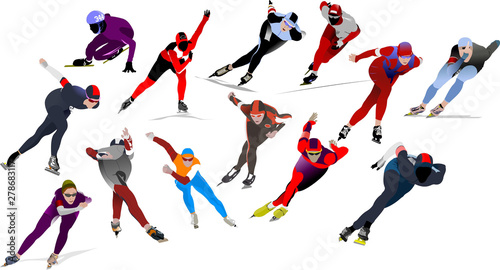 Fototapeta Speed skating. Vector illustration