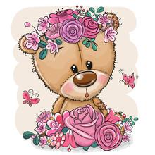 Cartoon Bear With Flowers On A...
