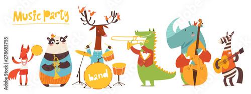 Cuadros en Lienzo Vector music poster with cute cartoon musicians
