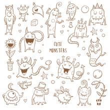 Vector Monsters Set. Cute Cartoon Fantastic Animals. Doodle Style. Contour Image No Fill.