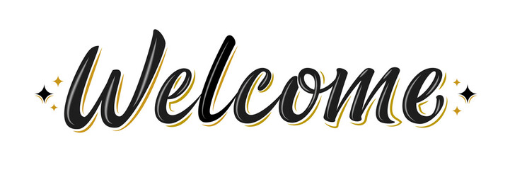 Welcome lettering sign. Han...