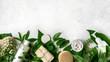 Leinwandbild Motiv Natural Skincare and leaves