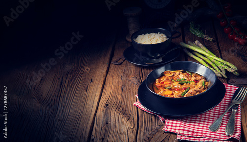 colorful turkey fricassee with asparagus and paprika Canvas Print