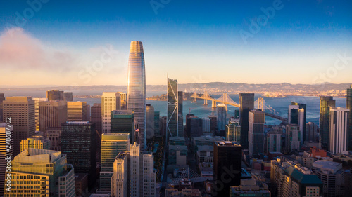 Aerial View of San Francisco Skyline at Sunset