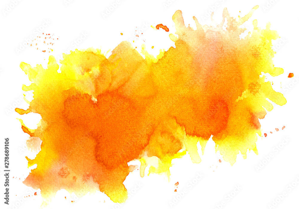 Fototapety, obrazy: Orange watercolor background.