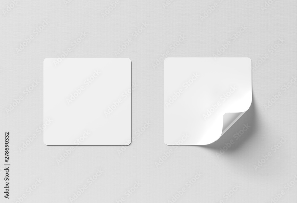 Fototapety, obrazy: Squared sticker mockup isolated on white 3D rendering