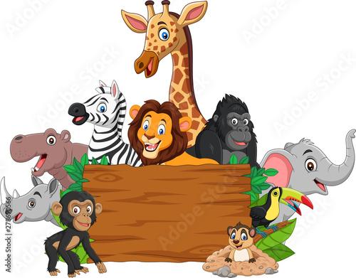 Cartoon wild animal with blank signboard