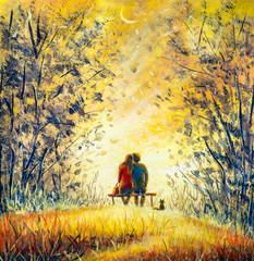 FototapetaOil painting romance and love. A loving couple and cat - young man and beautiful girl are sitting on bench and enjoying beautiful view of yellow sunset. Romantic landscape.