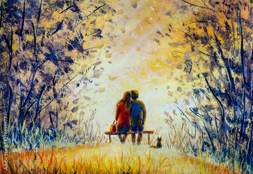 Poster Miel Oil painting romance and love. A loving couple and cat - young man and beautiful girl are sitting on bench and enjoying beautiful view of yellow sunset. Romantic landscape.