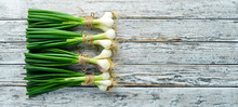 Green Onion On A White Wooden ...