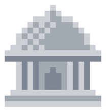 Museum Icon In A Pixel 8 Bit Video Game Art Style