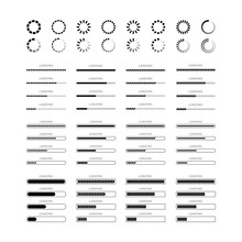 Set Loading Bar Progress Icons Isolated On White Background