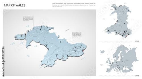 Obraz na plátně Vector set of Wales country