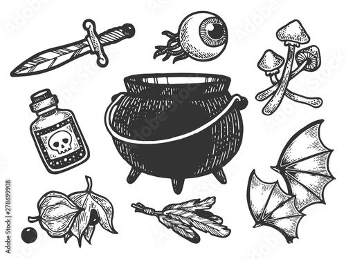 Photo Magical fabulous witch ingredients items sketch engraving vector illustration