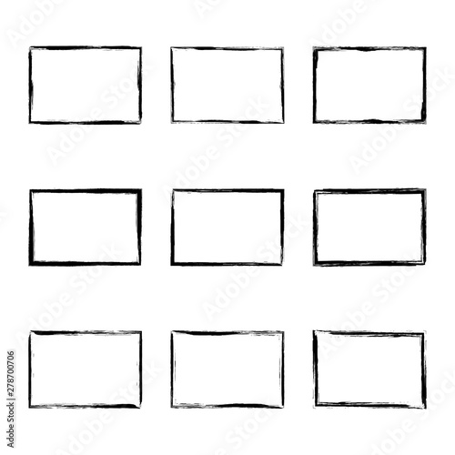 Set hand drawn rectangle frame Canvas Print