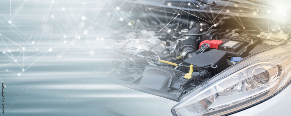 Fototapety, obrazy: View of engine compartment; multiple exposure