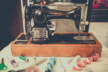 Retro sewing machine at home