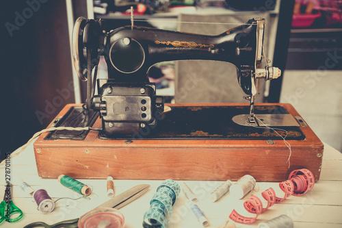 Retro sewing machine at home