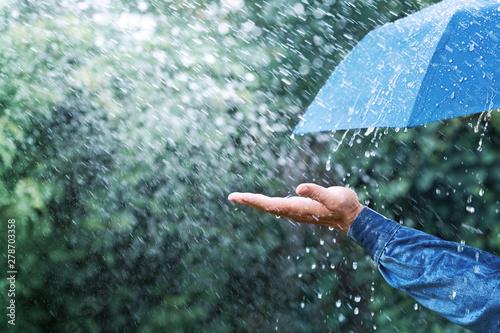 Платно Hand and blue umbrella under heavy rain against nature background
