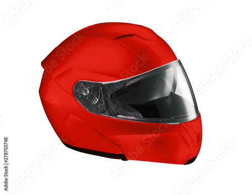 Foto op Plexiglas F1 Red helmet Isolated on white background