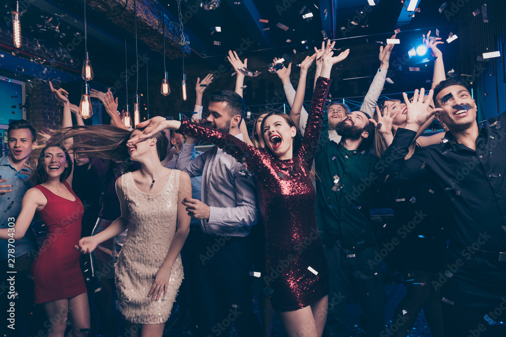 Fototapety, obrazy: Portrait of cute charming elegant party makers hard formal wear formalwear suit dress scream shout loud moving delighted indoors event