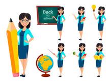Back To School. Teacher Woman Cartoon Character