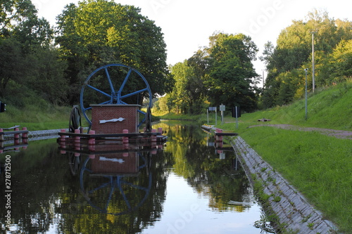 In de dag Kanaal The Inclined Planes and carriage in Buczyniec - Elblag Canal, ships transported over hills, the exceptional solution in entire world. Unesco memorial to world culture.
