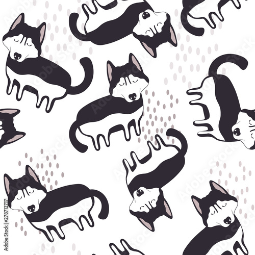 Happy dogs, hand drawn backdrop. Black and white seamless pattern with animals. Decorative cute wallpaper, good for printing. Overlapping background vector. Design illustration