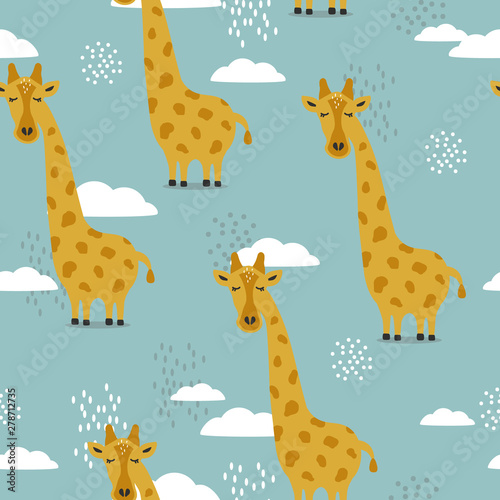 Giraffes, hand drawn backdrop Wallpaper Mural