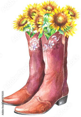 Flowers in boots Tablou Canvas