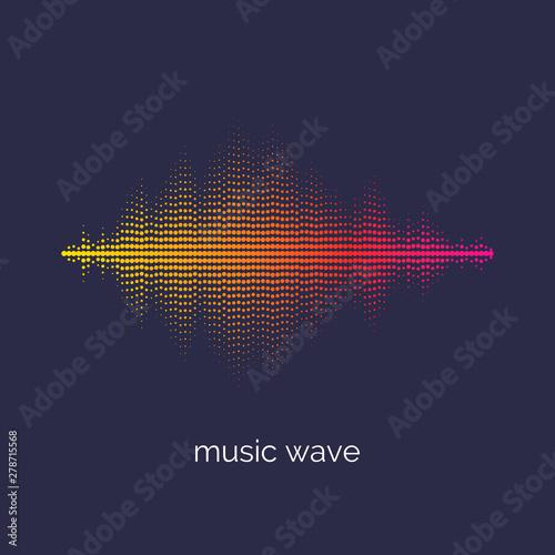 Sound wave equalizer. Vector illustration on dark background Canvas Print