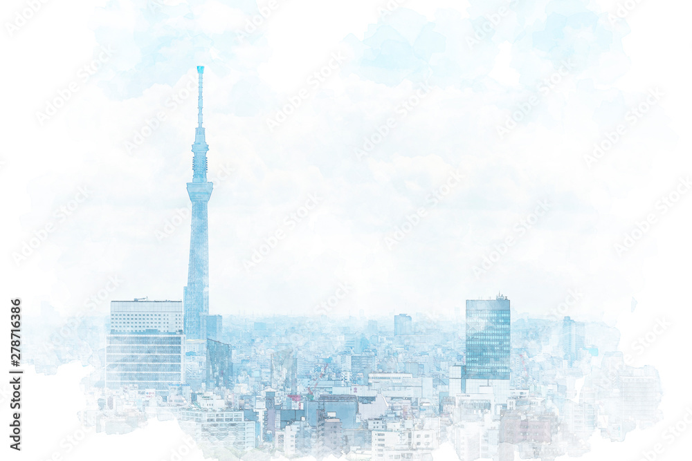 Fototapeta 東京の風景 Tokyo city skyline , Japan. Illustration of watercolor painting style.