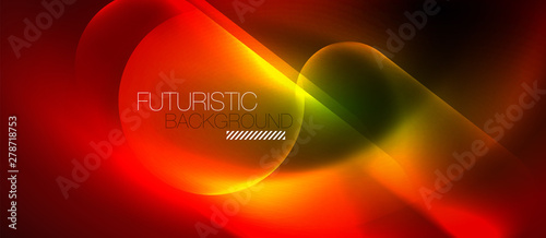 Photo  Neon glowing techno lines, blue hi-tech futuristic abstract background template
