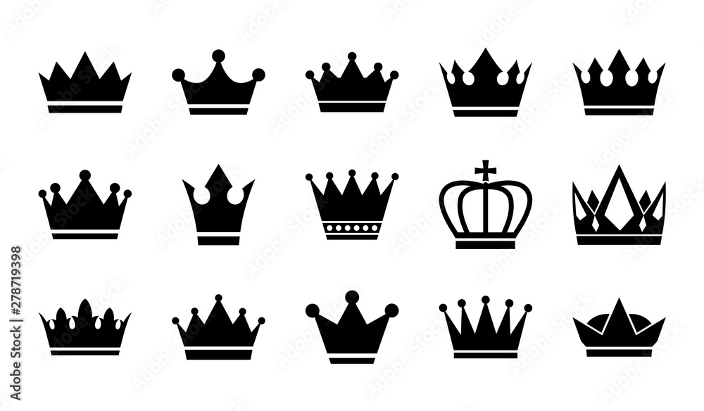 Fototapeta Vector flat crowns. Crown silhouettes isolated on white background.