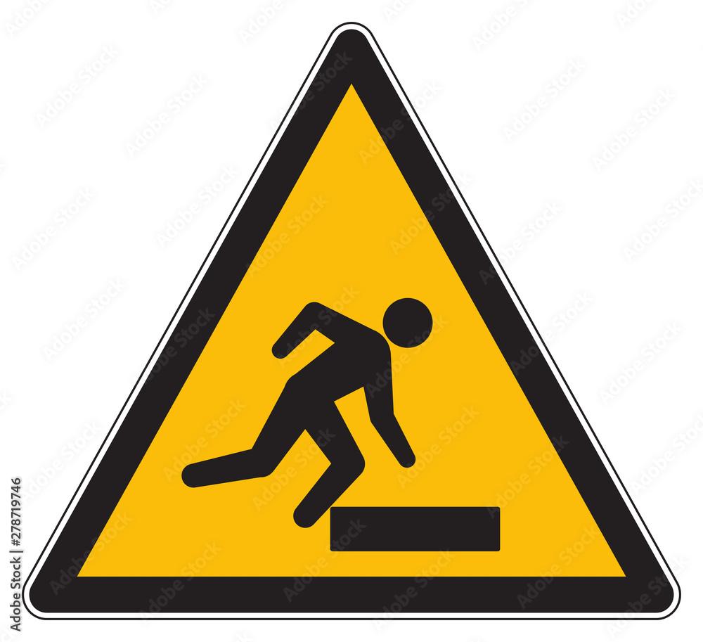 Fototapeta Caution trip hazard yellow sign