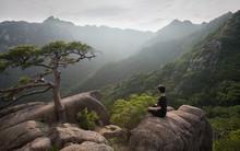 Hiker Finding Solitude In Gaya Mountain, Korea