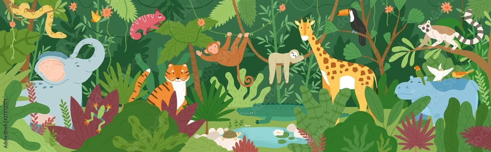 Fototapeta Adorable exotic animals in tropical forest or rainforest full of palm trees and lianas. Flora and fauna of tropics. Cute funny inhabitants of African jungle. Flat cartoon colorful vector illustration.
