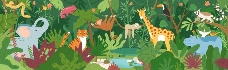 Adorable exotic animals in tropical forest or rainforest full of palm trees a...