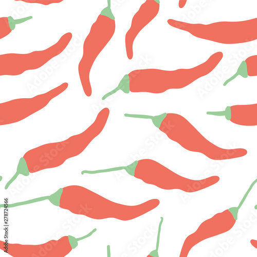Photo  Doodle red hot chilli pepper seamless pattern