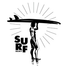Surfing Rental Logo. Silhouette Man With A Board On Beach Against The Sun. Black And White Vector Composition